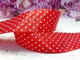 Атласная лента в горох цв. красный 50 мм.