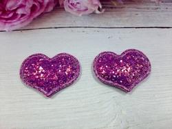 Сердце из кожзама с глиттером цв. фиолетовый перламутр 42х32 мм.