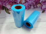 Фатин в шпульке с глиттером цв. голубой 25 ярд.