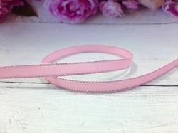 Репсовая лента с люрексом серебро цв. розовый 9 мм.