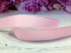 Репсовая лента с люрексом серебро цв. розовый 25 мм.