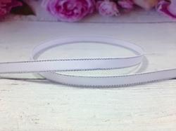 Репсовая лента с люрексом серебро цв. белый 9 мм.