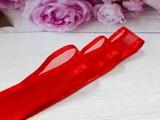 Лента из органзы с сатиновым краем цв. красный 25 мм.