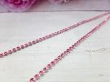 Цепочка из страз цв. розовый  3,0мм. (1м.)
