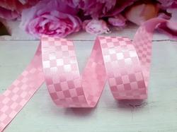Сатиновая лента в клетку цв. розовый 25 мм.