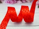 Сатиновая лента в клетку цв. красный 25 мм.