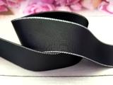 Репсовая лента с люрексом серебро цв. черный 40 мм.