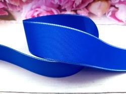 Репсовая лента с люрексом серебро цв. синий 40 мм.