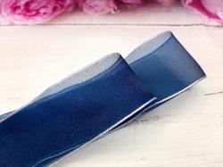 Шифоновая лента цв. темно-синий с серым краем 38 мм.