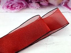 Шифоновая лента цв. темно-красный с черным краем 38 мм.