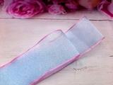 Шифоновая лента цв. голубой с розовым краем 38 мм.
