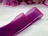 Шифоновая лента цв. сиреневый с розовым краем 38 мм.