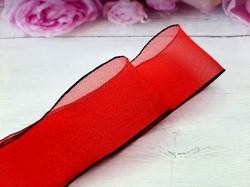 Шифоновая лента цв. красный с черным краем 38 мм.