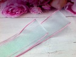 Шифоновая лента цв. мятный с розовым краем 38 мм.