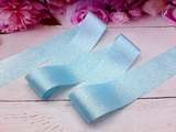 Лента текстильная металлик цв. голубой 40 мм.