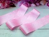 Лента текстильная металлик цв. розовый 40 мм.
