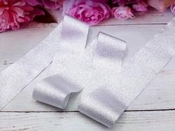 Лента текстильная металлик цв. серебро 40 мм.