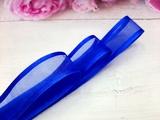 Лента из органзы с сатиновым краем цв. синий 25 мм.(5м.)