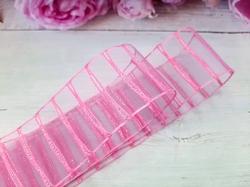 Лента капроновая в полоску с люрексом цв. ярко-розовый 38 мм.