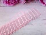 Лента капроновая в полоску с люрексом цв. розовый 38 мм.