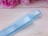 Лента из органзы с сатиновой полосой цв. голубой 25 мм.