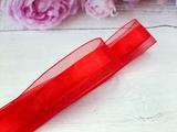 Лента из органзы с сатиновой полосой цв. красный 25 мм.