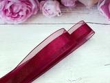 Лента из органзы с сатиновой полосой цв. винный 25 мм.