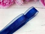 Лента из органзы с сатиновой полосой цв. темно-синий 25 мм.