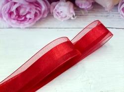Лента из органзы с сатиновой полосой цв. темно-красный 25 мм.