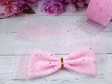 Лента фатиновая с пайетками цв. розовый 60мм.