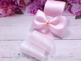 Лента капроновая жатая с перламутровым покрытием цв. розовый 60 мм.