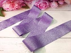 Лента текстильная металлик цв. фиолетовый 40 мм.