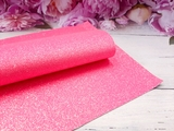 Искусственная кожа с глиттером цв. ярко-розовый 20х30см.