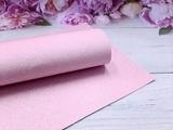 Искусственная кожа с глиттером цв. бледно-розовый 20х30см.
