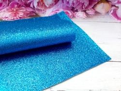 Искусственная кожа с глиттером цв.голубой 20х30см.