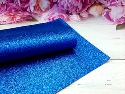 Искусственная кожа с глиттером цв.синий 20х30см.