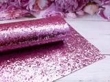 Искуственная кожа с крупным глиттером цв.розовый 20х30см.