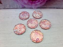 """Кабошоны акриловые с узором """"цветы"""" цв. розовый перламутр D16мм."""