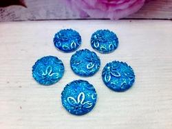 """Кабошоны акриловые с узором """"цветы"""" цв. голубой перламутр D16мм."""