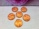 """Кабошоны акриловые с узором """"цветы"""" цв. оранжевый перламутр D16мм."""