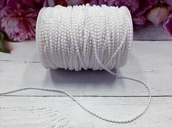 Бусины на нитке цв. белый жемчуг 3,0мм.