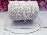 Бусины на нитке цв. белый жемчуг 4,0мм.