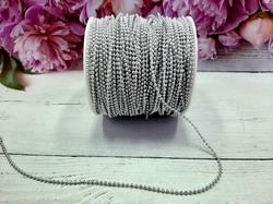 Бусины на нитке цв. серебро 2,5мм.