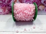 Бусины на леске цв. розовый жемчуг 3+8 мм.