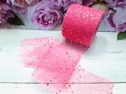 Лента фатиновая с золотыми звездочками цв. ярко-розовый 60мм.