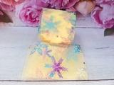 Фатиновая лента с разноцветными снежинками цв. желтый 60мм.