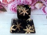 Фатиновая лента с золотыми снежинками цв. черный 60мм.