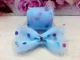 Фатиновая лента в разноцветный горох цв. сине-голубой 60мм.