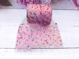 Фатиновая лента с разноцветными звездочками цв. пудровый 60мм.