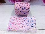 Фатиновая лента с разноцветными звездочками цв. розовый 60мм.